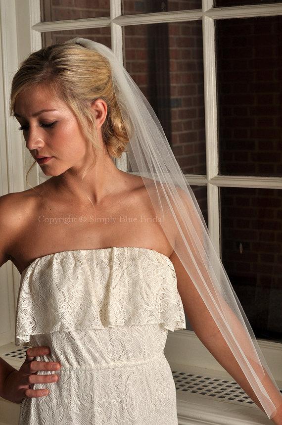 Wedding - Veil with Raw Cut Edge - Fingertip Length - Ivory, White, Diamond White, Champagne
