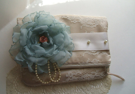 Mariage - Handmade~Clutch~Handbag~Hand Cut Chiffon Rose, Champagne,Blue, Handbag, Purse, Wedding,Bridesmaid,Bridal, Satin, Pearls,Lace