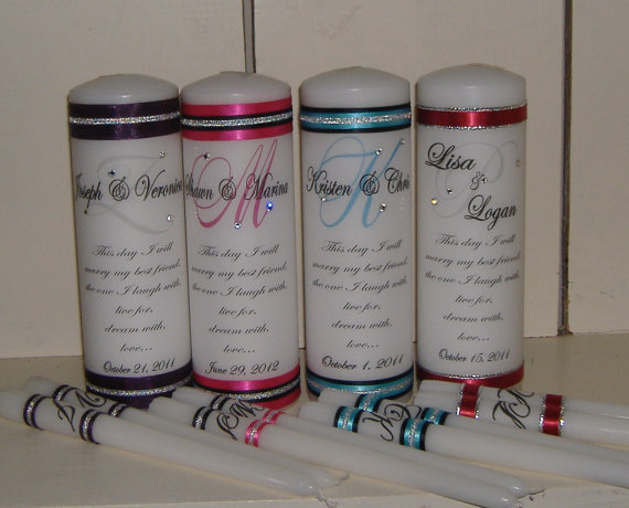 Mariage - Unity Candle Set with Crystals