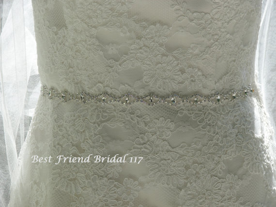 Hochzeit - Bridal Belt, Rhinestone Belt, Wedding Sash, Thin Crystal/Rhinestone Belt, Bridesmaid Belt, Narrow Beaded Belt, Best Friend Bridal 117