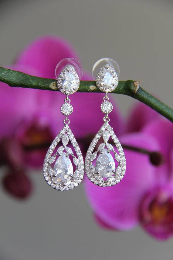 Mariage - Sparkle filled cz earrings, cubic zirconia earrings, wedding jewelry, bridal jewelry, wedding earrings, bridal earrings