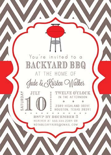 Wedding - BBQ Barbecue Backyard Party Celebration Couples Shower Invitation - colors and wording can be changed