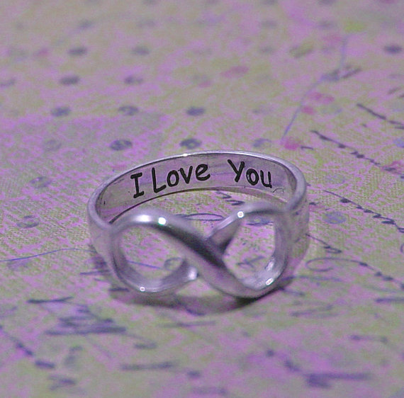 زفاف - Infinity ring, infinity rings, sterling silver ring,  engraved ring, engraved jewelry, I love you ring, size 6.5, 6.75 and 7, wedding ring