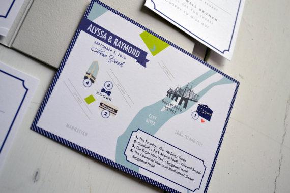 زفاف - Custom Wedding Map, JPress Designs, wedding, travel, guest guide, destination wedding, save the date, custom map, illustration, New York