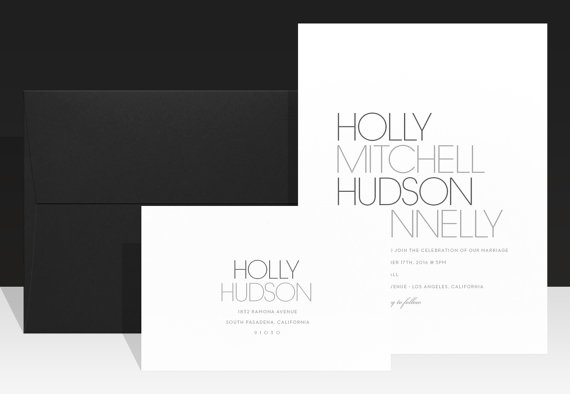 Minimalist wedding invitation modern chic wedding invitations minimalist wedding invitation modern chic wedding invitations simple black and white wedding invite urban typography beautiful holly stopboris Images