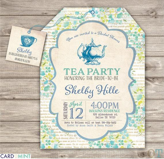 26 Blue Bridal Tea Party Shower Invitations Book Inserts Green Vintage Pot Elegant Wedding Tags Nv801