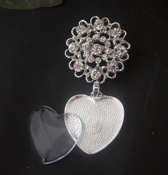Hochzeit - 1 Rhinestone Wedding Bouquet Charm Kit pin P - for wedding bouquet, dress, or decoration - Rhinestone Old World Brooch