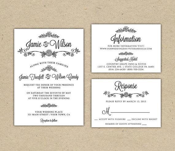 زفاف - Modern Country chic Wedding Invitation and RSVP -Printable DIY. printed Wedding Invitation Template(1005)