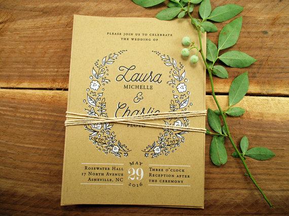 زفاف - Rustic Wedding Invitation Suite, Country Wedding Invitation - Purchase this deposit to  get started, Wreath