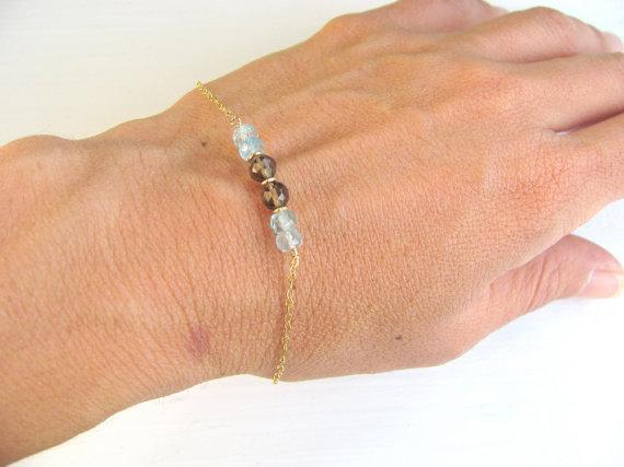 Свадьба - Aquamarine bracelet, gold bracelet, smoky quartz, gold filled chain, blue gemstone bracelet, bridal jewelry