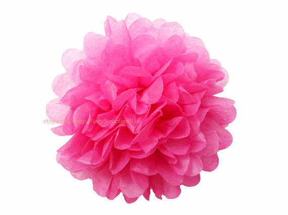 birthday party decor hot pink tissue paper pom poms 1. Black Bedroom Furniture Sets. Home Design Ideas