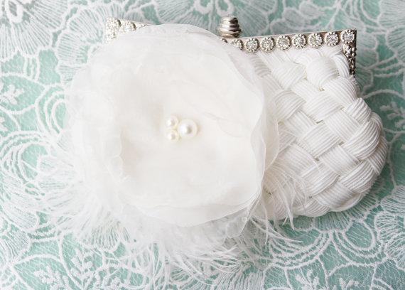 Hochzeit - Organza Feather Ivory Bridal Clutch Bag - Wedding Prom Pageant Evening Clutch Formal Purse Bouquet Clutch
