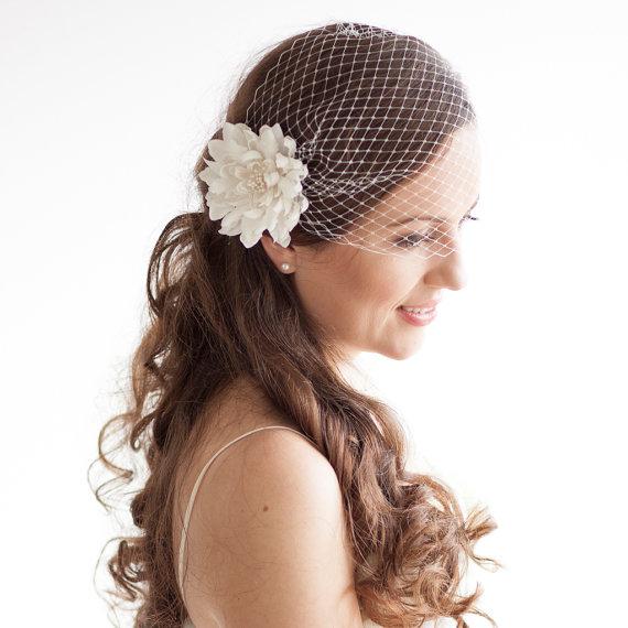 زفاف - Ivory Birdcage Veil with Dahlia Flower Clip - Bridal Veil Fascinator - Wedding Hair Accessories Blusher