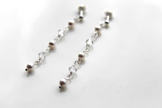 Delicate Swarovski Pearl And Crystal Earrings Bridal Pearl