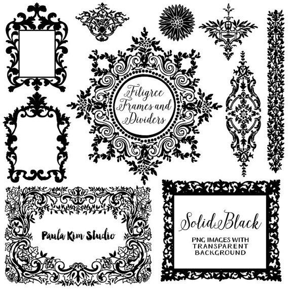 80% OFF SALE Solid Black And White Digital Frames, Flourish Clipart, Wedding  Invitation Clip Art, Instant Download