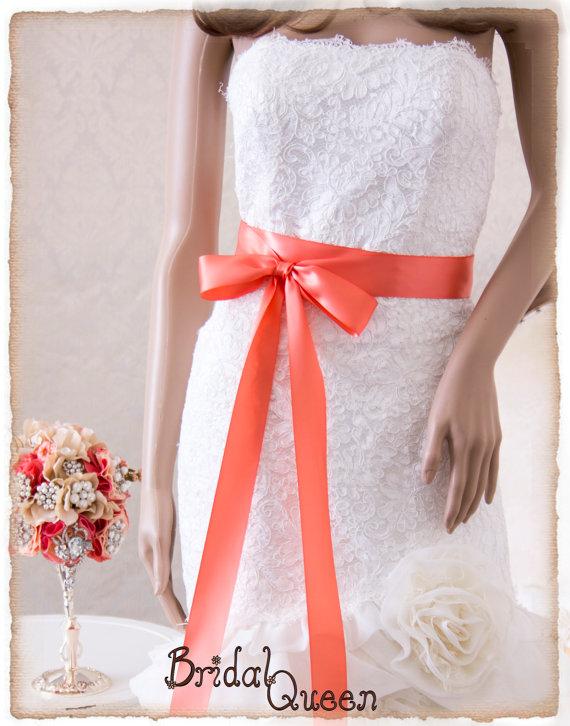 Свадьба - LIGHT CORAL  Bridal Sash, Satin Ribbon Sash, Wedding Sash, Satin Bridal Sash, Bridesmaids Sash, Bridal Belt