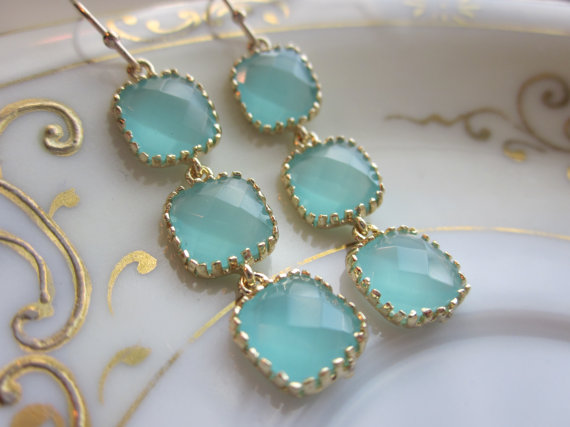 Hochzeit - Aqua Blue Mint Earrings Gold Plated - Three Tier Squares - Bridesmaid Earrings - Bridal Earrings - Bridesmaid Jewelry - Mint Wedding Jewelr