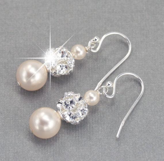 Wedding - Wedding Earrings, Pearl Dangle Earrings, Wedding Jewelry for the Bride, Pearl and Rhinestone Bridal Earrings