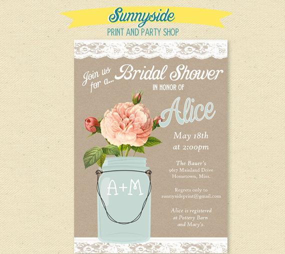 زفاف - Peach Rose & Lace Mason Jar Bridal Invitation - Bridal Shower / Rehearsal Dinner Invite - Printable Invite