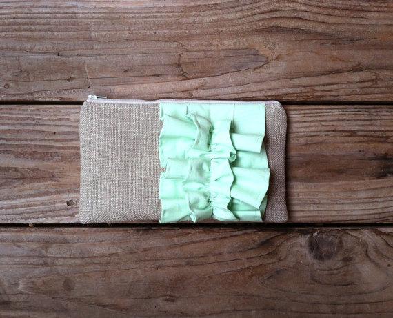 Mariage - Mint Green Burlap Ruffle Zipper Clutch - Bridesmaid Gift - Pastel Mint Wedding Bag