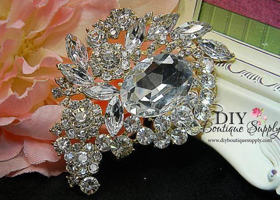 Hochzeit - Large Gold Brooch Crystal Brooch Rhinestone Brooch Bouquet Crystal Wedding Bridal Accessories Sash Pin Back 80mm 249250