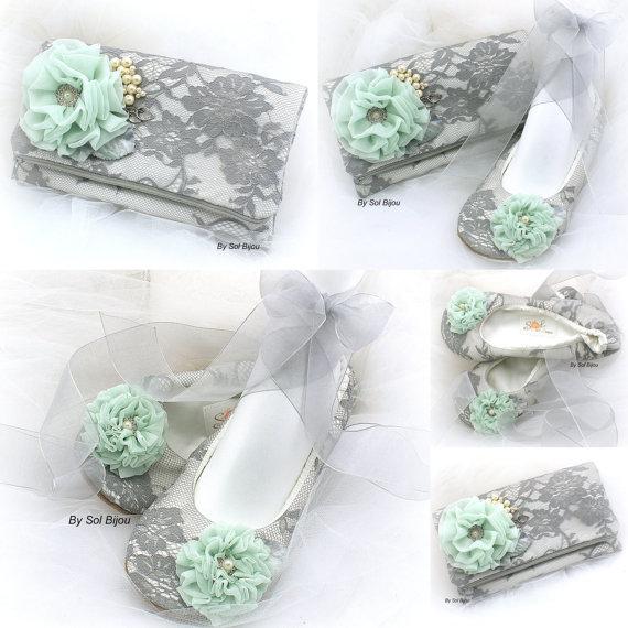Mariage - Clutch, Handbag, Bridal, Wedding, Ballet Flats, Maid of Honor, Ivory, Gray, Mint Green, Lace, Crystals, Pearls, Elegant Wedding