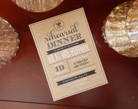 Hochzeit - Kraft Rehearsal Dinner Invitation, Bridal Shower invitation, kraft invitation, Rustic, DIY