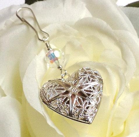 Hochzeit - A heart shaped locket. Wedding bouquet & memorial charm, with filigree heart locket. Crystal or pearl bridal bouquet charm.