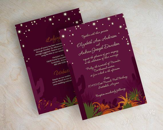 زفاف - Desert cactus wedding invitations, desert landscape, starry evening wedding invitation, eggplant, olive green, mustard, dark orange, Nevena2