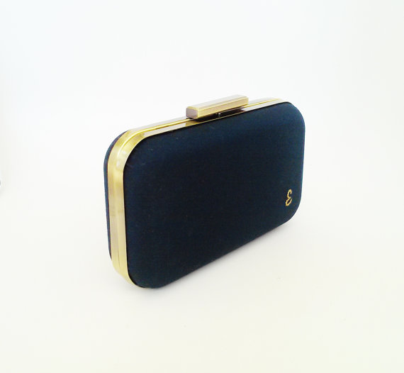 Mariage - bridesmaid gift, navy clutch, navy weddings, navy bridesmaids, personalized gift, navy gold wedding, navy wedding, wedding clutches, gifts