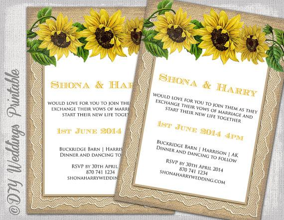 Country Wedding Invitation Template Rustic Sunflower Printable
