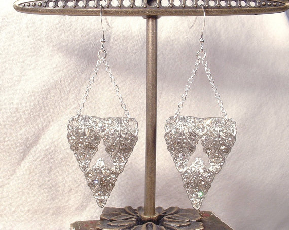 Свадьба - 1920s Sterling Silver Clear Rhinestone Drop Earrings, Vintage Leaf Fur Dress Clip Bridal Earrings Art Deco Flapper Dangle Statement Jewelry