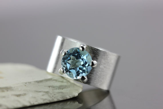 Wedding - Sky Blue Topaz Gemstone with Wide Textured Band - Solid Sterling Silver - Wedding Engagement Promise Ring