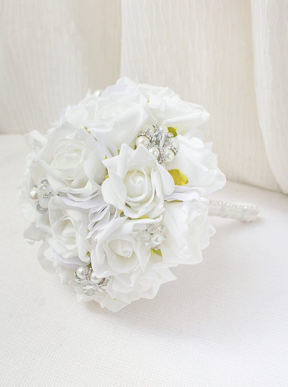 First Communion Bouquet, White Bouquet, Brooch Bouquet, Silk Flower ...
