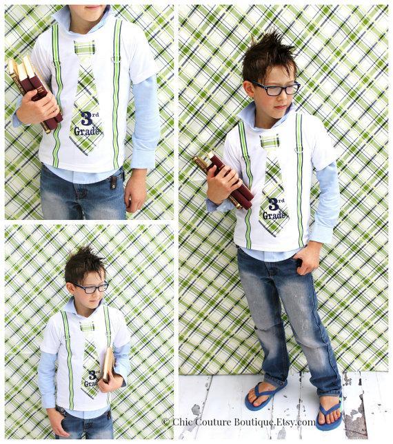 زفاف - Back to School Tie and Suspender Personalized Tie T-shirt Tee.  1st Day, Grade School, Photo Prop.  Fall Fashion, Navy Blue Green Stripes