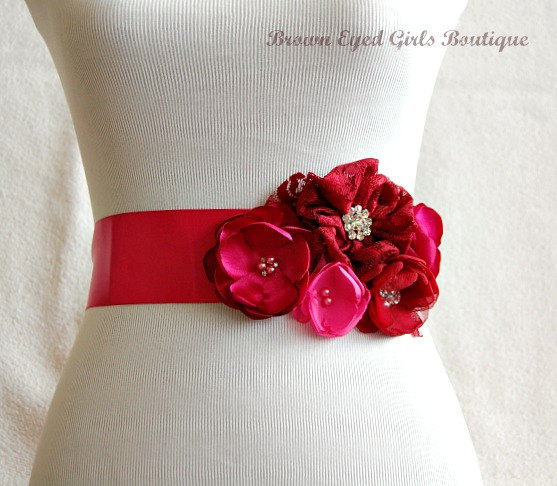 Mariage - Red and Pinks Bridal Sash, Red Wedding Sash, Pink and Red Wedding Belt