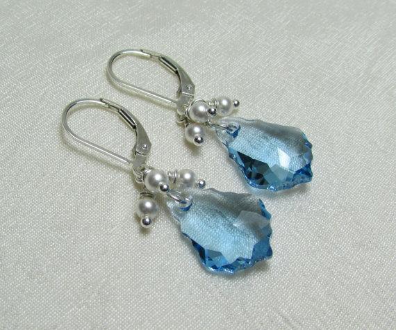 Mariage - Swarovski Crystal Bridal Earrings - Pearl Cluster Swarovski Earrings - Bridesmaid Earrings Bridesmaid Gift Wedding Jewelry