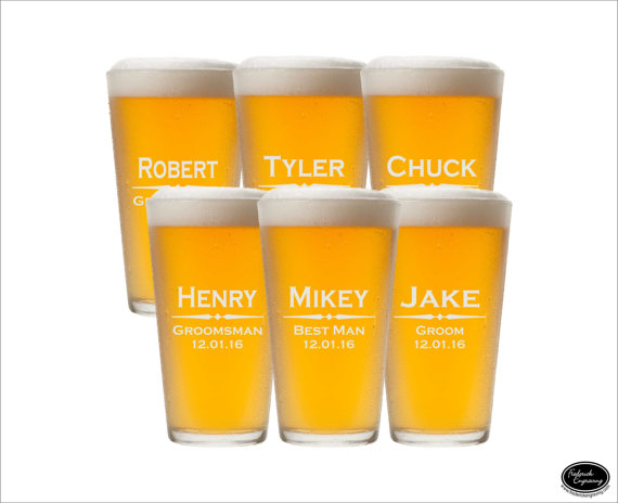Wedding - SIX Groomsmen Pint Glasses, SHIPS FAST, Pint Groomsmen Glasses, Beer Groomsmen Glasses, Etched Groomsmen Beer Mugs,  Personalized Pint Glass
