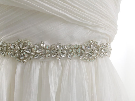 Wedding - USA SELLER - dainty rhinestone bridal sash, crystal wedding ...