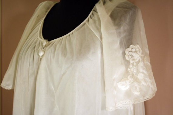 زفاف - 50s Peignoir Set: Vassarette White Chiffon Nightie & Robe S