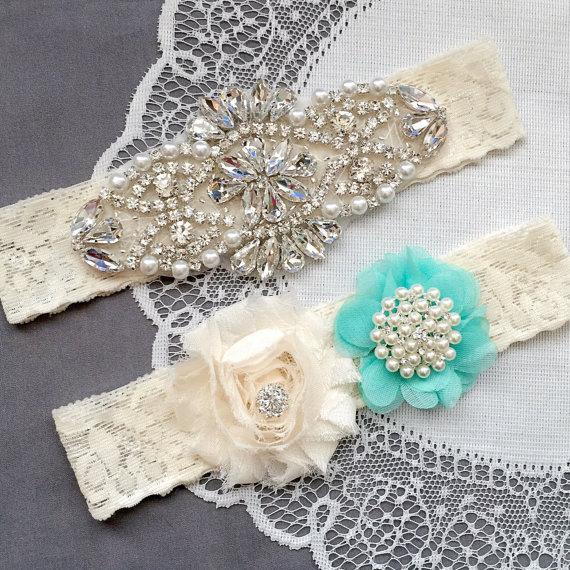 Hochzeit - Wedding Garter Bridal Garter TEAL BLUE Garter Set Lace Garter Ivory Rhinestone Crystal Pearl Garter Beach Wedding GR144LX