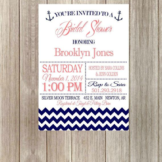 Hochzeit - DIY Printable Nautical Bridal Shower Invitation with Chevron Printable with Anchor Wedding Invite (Printable)