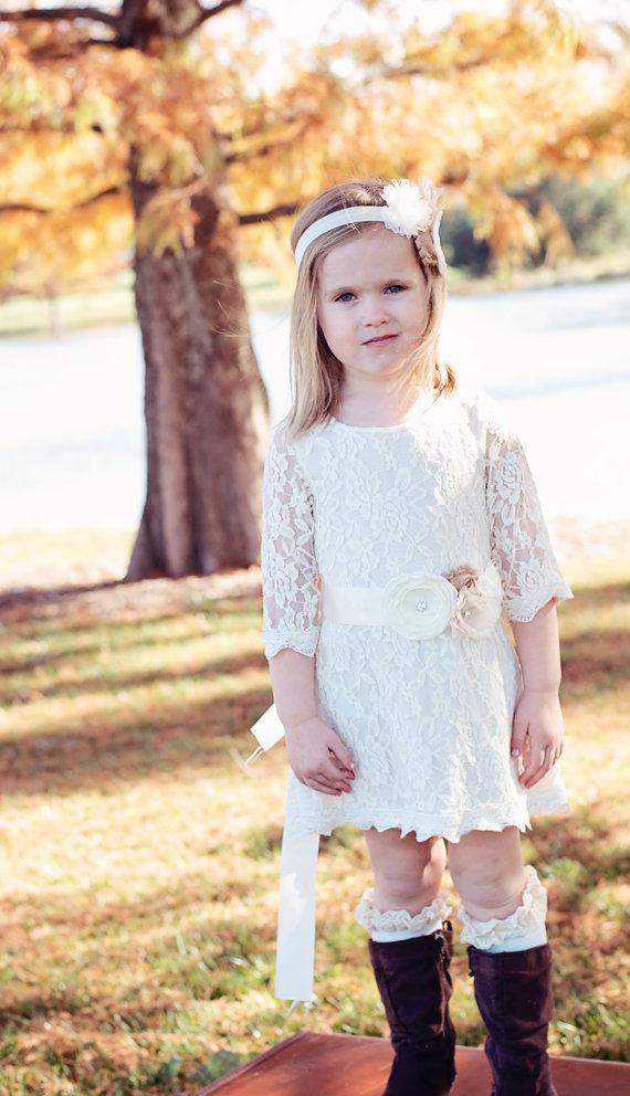 Wedding - Ivory Rustic Flower girl dress flower lace HEADBAND and SASH Rustic Wedding