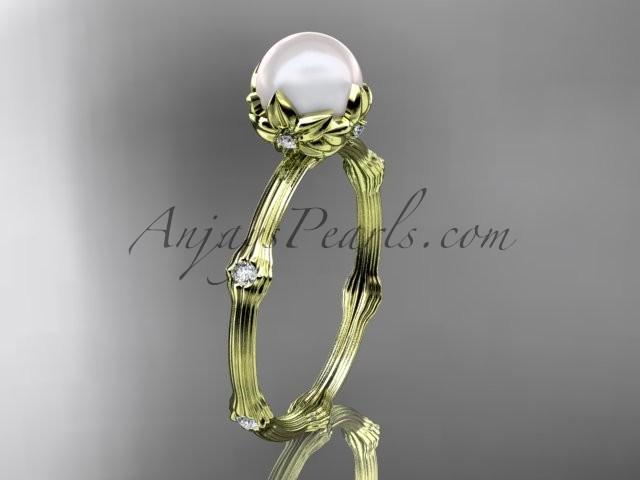 Wedding - 14k yellow gold diamond pearl vine and leaf engagement ring AP38