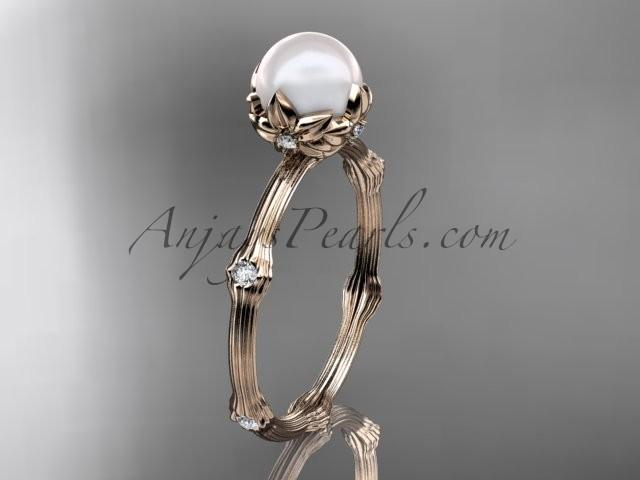 Wedding - 14k rose gold diamond pearl vine and leaf engagement ring AP38