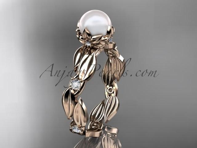 Mariage - 14k rose gold diamond pearl vine and leaf engagement ring AP58