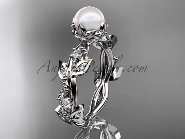 Wedding - Platinum diamond pearl vine and leaf engagement ring AP59
