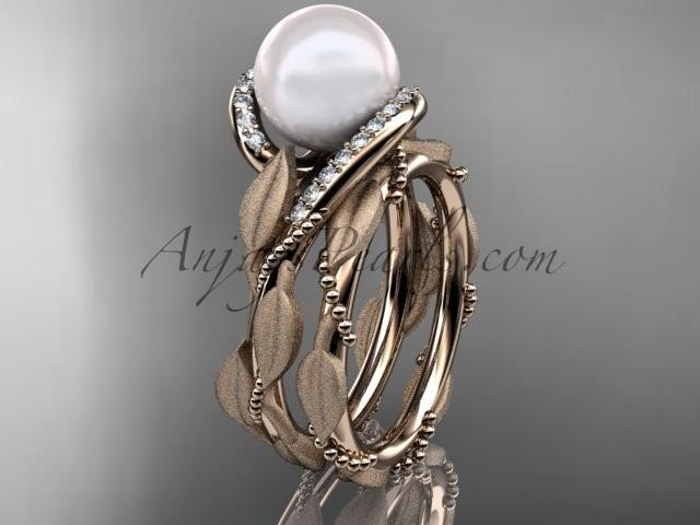Boda - 14k rose gold diamond pearl vine and leaf engagement set AP64S