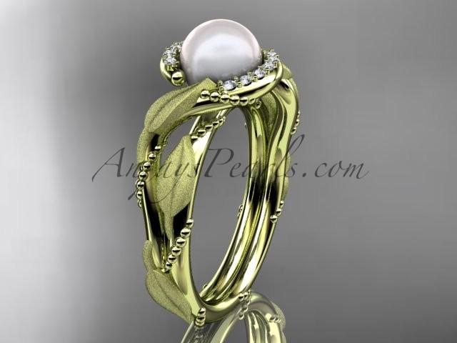 Wedding - 14k yellow gold diamond pearl vine and leaf engagement ring AP65