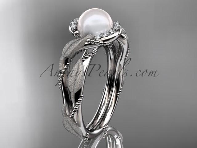 Wedding - platinum diamond pearl vine and leaf engagement ring AP65